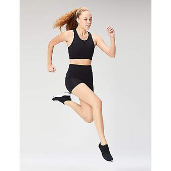 Core 10 Kvinner's Plus Size Longline Pocket Sports BH, Svart, 1X (14W-16W)