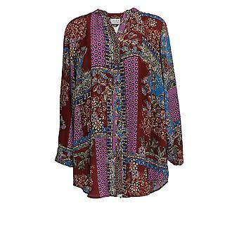 Joan Rivers Femmes-apos;s Blouse Plus Patchwork Imprimé Texturé Rouge A366232