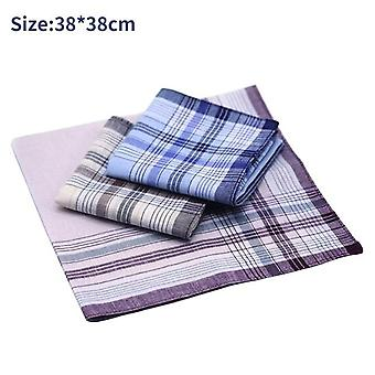 Square Plaid Stripe lommetørklæder - Mænd Classic Vintage Pocket Hanky Pocket Bomuld Håndklæde til Bryllupsfest