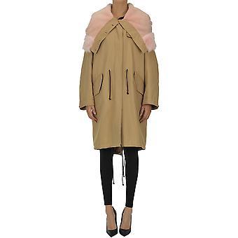 Calvin Klein Ezgl106016 Kvinnor's Beige Bomull Coat