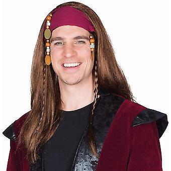 Jack Piratenperücke braun Langhaar Flechtzöpfe Stirnband Perücke Pirat
