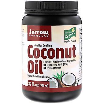 Formules Jarrow, Huile de coco biologique, Expeller Pressé, 32 fl oz (946 ml)