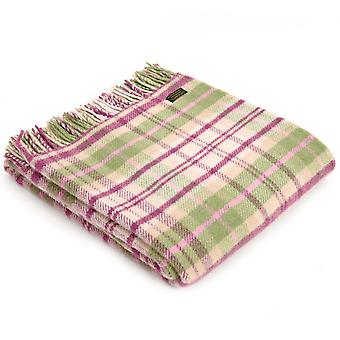 Tweedmill Pure New Wool Knee Lap Blanket, Check Cottage Pink