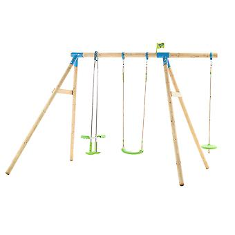TP Toys Snowdonia Wooden Swing Set With 3 Swing Accessories Age 3 Year+