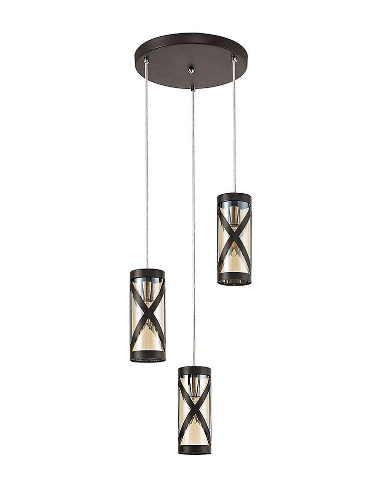 3 Light Round Ceiling Cluster Pendant E14, Oiled Bronze, Polished Chrome, Amber
