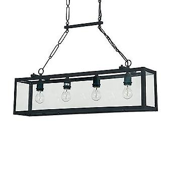 Ideal Lux Igor - 4 Light Ceiling Lantern Pendant Bar Black, Przezroczyste szklane płyty, E27