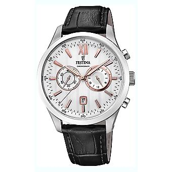 Festina chronograph watch for Analog Quartz Men with Cowhide Bracelet F16996/1