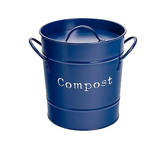 Industrial Compost Bin - Vintage Style Steel Kitchen Storage Bucket - Removable Inner - Navy