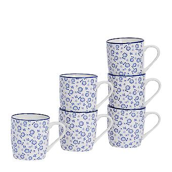 Nicola Spring 6 Piece Daisy Patterned Tea and Coffee Mug Set - Small Porcelain Cappuccino Cups - Navy Blue - 280ml