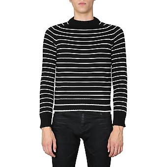 Saint Laurent 631514yary21095 Men's Vit/svart Ulltröja