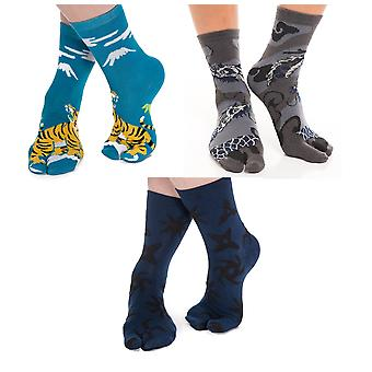 Flip Flop Tabi Socks Asian Dragon, Tiger And Ninja Throwing Star-3 Pairs