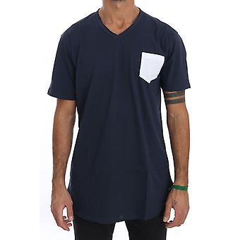 Daniele Alessandrini Sininen Puuvilla Valkoinen Pocket Crewneck T-paita