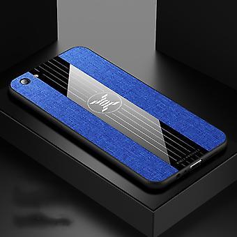 Voor OPPO R9S XINLI Stikdoek Textue Schokbestendige TPU-beschermhoes(blauw)