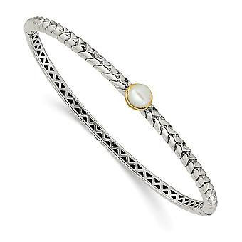 925 Sterling Silver Hinged Textured Polished With 14k 6mm Freshwater Cultured Pearl Cuff Stackable Bangle Bracelet Jewel
