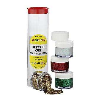 Snazaroo face and body paint, glitter gel, 4 x 8 ml, tube b - assorted colours