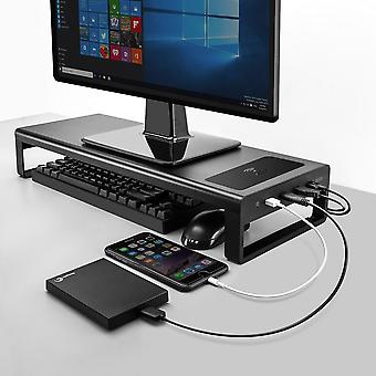Monitor Stand Computer Base Table With 4 Usb 3.0 Hub Mobile Phone/wireless