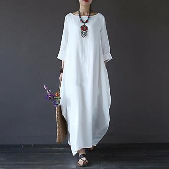 Summer Autumn Plus Size Dresses Women Vintage Dress Boho Shirt Maxi Robe