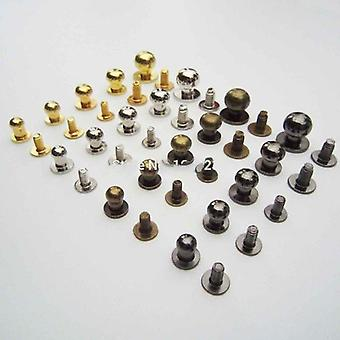 Solid Brass Round Head Stud Spot, Screwback Screw Back Leather Craft Bag Belt