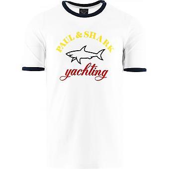 Paul & Shark White Three Colour Logo T-Shirt