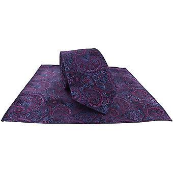 Michelsons of London All Over Paisley Cravatta e Pocket Square Set - Rosa/Blu