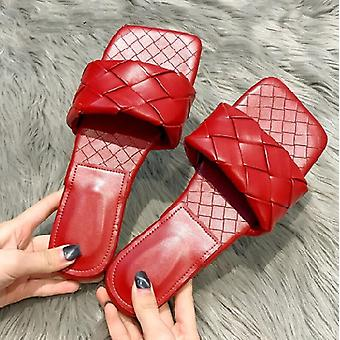 Fashion Weave, Leather Slippers, Comfort Soft Flat With Sandals Square Toe Flip