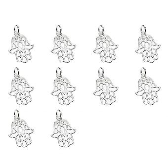 Pakiet 10 Hamsa Hand Sterling Silver Charms .925 Protection Charm - 7113