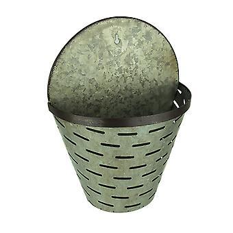 Rustic Galvanized Metal Olive Bucket Indoor/Outdoor Wall Planter
