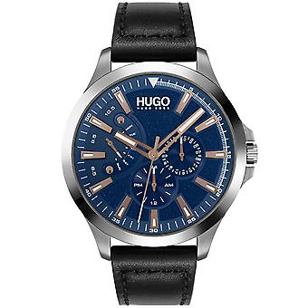 HUGO 1530172 Leap Navy And Black Leather Mens Watch
