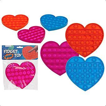 2-Pack Fidget Pop It Leksak Toy Stress Relax Hjärtformat Olika Färger