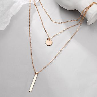 Gold Triple Layered Necklace with Bar Pendant