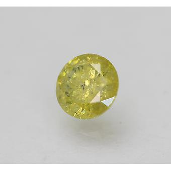 Cert 0.45 Carat Vivid Yellow Round Brilliant Enhanced Natural Diamond 4.81mm