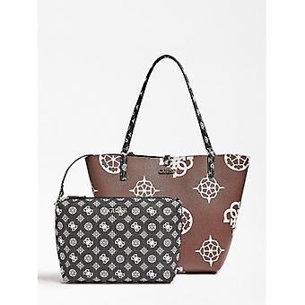 Guess Alby Toggle Tote Shopping Bag With Taupe Faux Leather Clutch Bag/ Black B21gu110