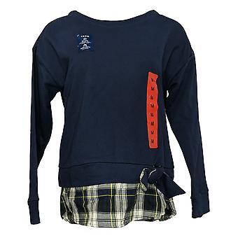 Izod Sweat Shirt Women's 2-Fer Tie Front Soft Touch Blue