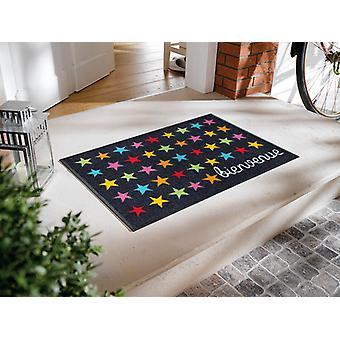 Bienvenue Étoile 50 x 75 cm lavável tapete seco + lavagem
