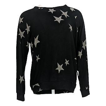 Buffalo Women's Sweater Printed Cozy Star Print Navy Blue