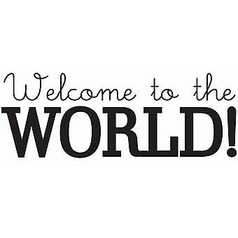 Hampton Art Wood Mounted Stamp - Welcome World
