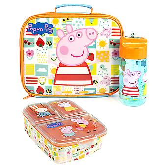 Peppa Pig Lunch Box Set Voor Kinderen | Kinderen School Food Bag, BPA Gratis WaterFles 430ML &Snack Pot | George Pig Rebecca Rabbit Suzy Schapen Karakters