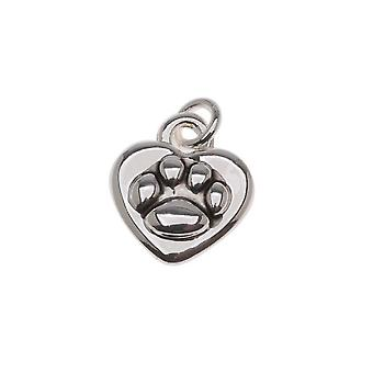 Antiqued Silver Plated 2-Sided Paw Print On Heart Charm 11mm (1)
