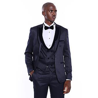 Velvet lapel patterned navy blue tuxedo