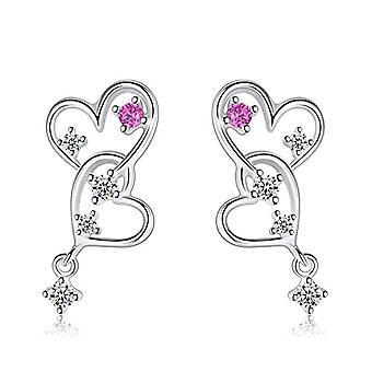 Gemshadow for women in sterling 925 silver with double heart zircon earrings and 925, color: Red Heart Earrings, cod. AQED000084
