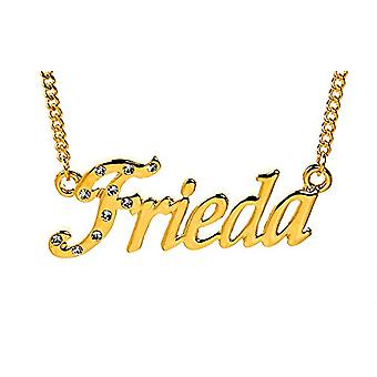 """L Frieda - 18-karat forgyldt halskæde, med tilpasselig navn, justerbar kæde af 16 """"- 19"""", i Regal Packaging"""