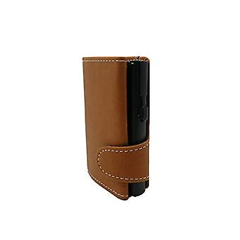 RF Distribution Brown Sand Leather Credit Card Holder with White Seams