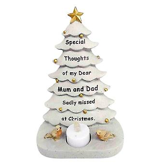 David Fischhoff Mum & Dad Christmas Tree With Flickering Led Candle Light Memorial Ornament