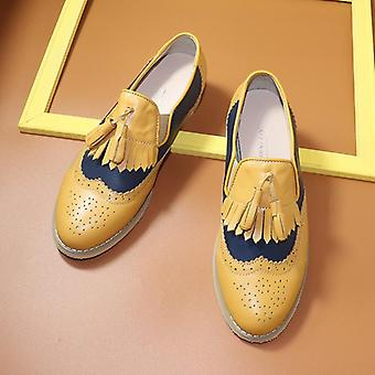 Women's Flats Oxfords Genuine Leather Sneakers - Yellow Blue