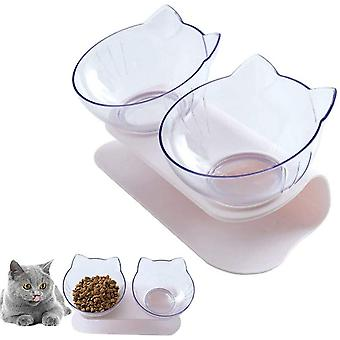 Katzen Futternapf, Doppelte Katzennäpfe mit Erhöhtem, 15 ° Geneigte Plattform Haustier Ständer