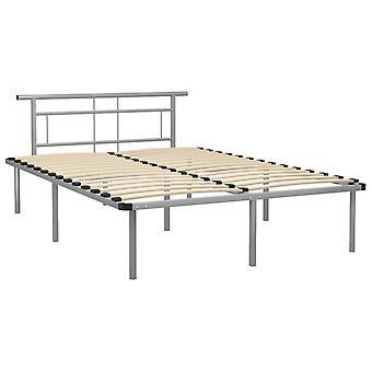 vidaXL Sängyn runko Harmaa Metalli 160x200 cm