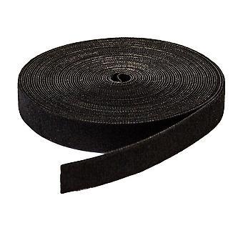 Dubbelzijdig klittenband voor kabelafhandeling 5 meter Zwart