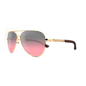 Ruby rocks metal dominica aviator sunglasses with embossed temple in gold