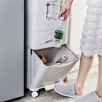 سعة كبيرة 38/42l القمامة يمكن أن تضاعف صناديق فرز النفايات المطبخ القمامة تخزين القمامة wastebucket لمكتب مطبخ الحمام المنزلي