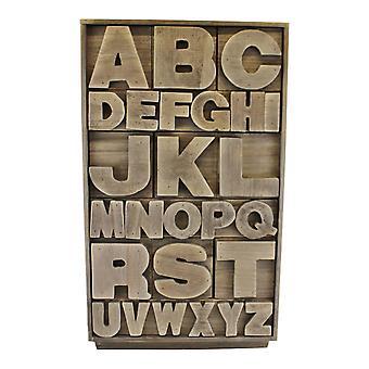 Grey Wooden Alphabet Storage Unit